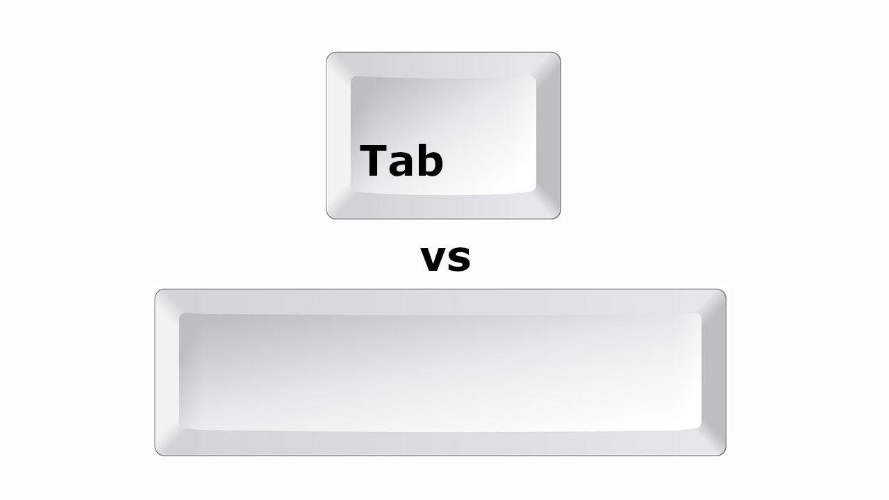 استخدم زر tab ولا زر المسافة أثناء كتابة الكود؟