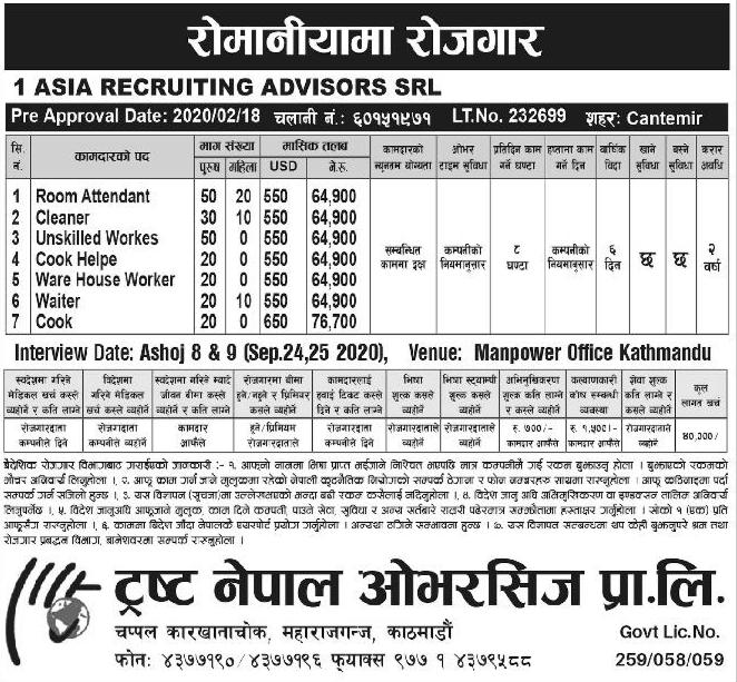 Jobs in Romania, Europe for Nepali