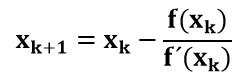 Relación matemática para estimar un valor utilizando el método de Newton-Raphson