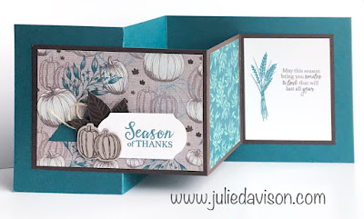VIDEO: Stampin' Up! Gather Together Double Z Fold Card Tutorial ~ 2019 Holiday Catalog ~ Stamp of the Month Club Card Kit ~ www.juliedavison.com