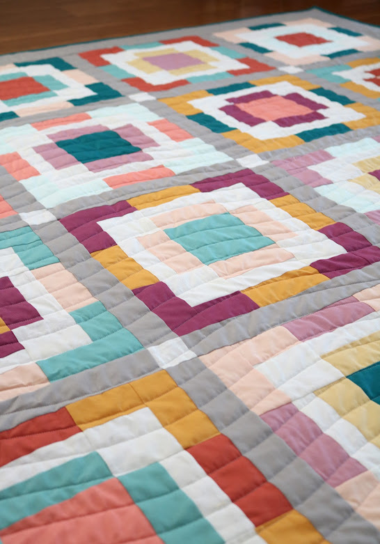 Rise and Shine quilt in Kona cotton solids by Andy of A Bright Corner