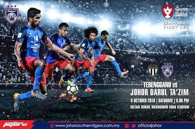 Live Streaming Terengganu vs JDT Piala Malaysia 6.10.2018