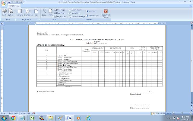 Contoh Format Analisis Kebutuhan Tenaga Administrasi Sekolah SMP/SMA/SMK