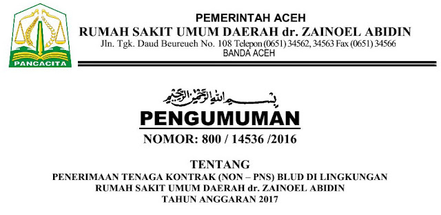 NON PNS RSUD ZAINAL ABIDIN BANDA ACEH TAHUN 2017