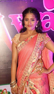 Ulka Gupta Young Telugu Star in Lovely Peachy Saree at Apsara Awards 2016