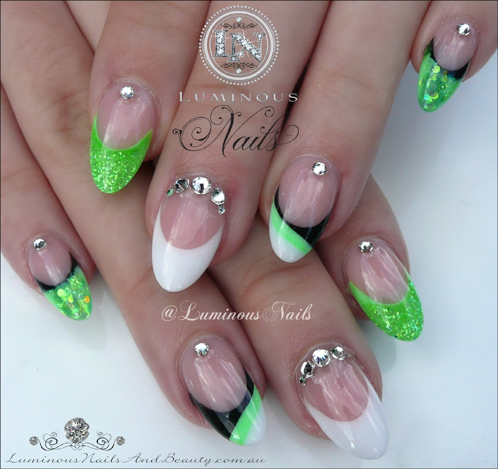 Luminous Nails Neon Green Black White Acrylic Nails With