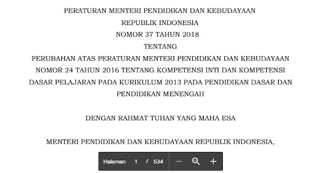 Perubahan KD Permendikbud Nomor 37 Tahun 2018 - jalurppg.id