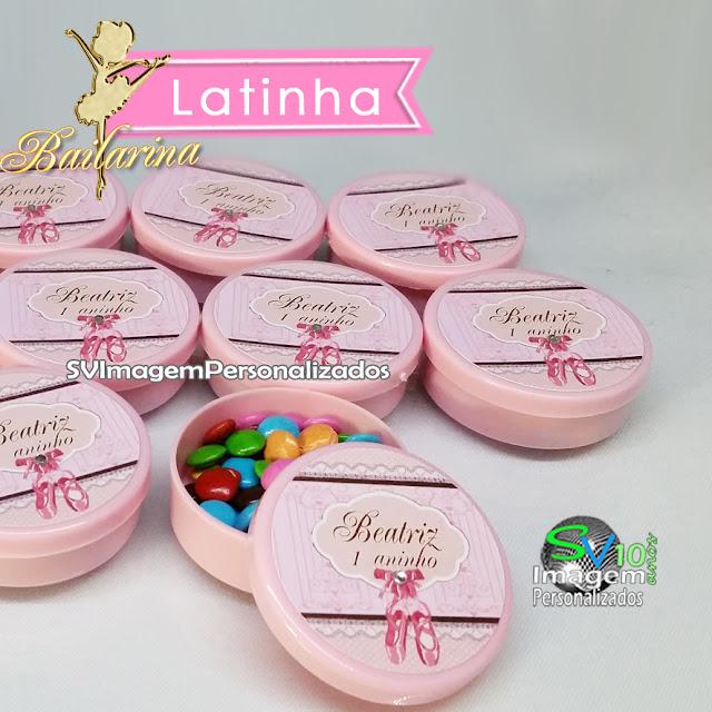 o preço mais barato para  Latinha personalizada  é uma delícia de Lembrancinha, ideal para colocar balinhas , no tema Bailarina Ballet no padrão rosa e dourada será um sucesso na festa de sua princesa
