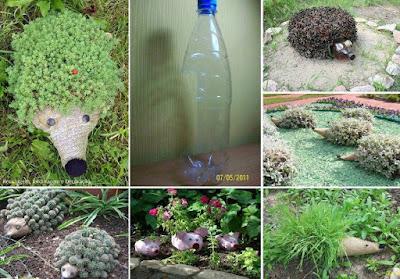 macetas creadas a partir de botellas de plástico recicladas