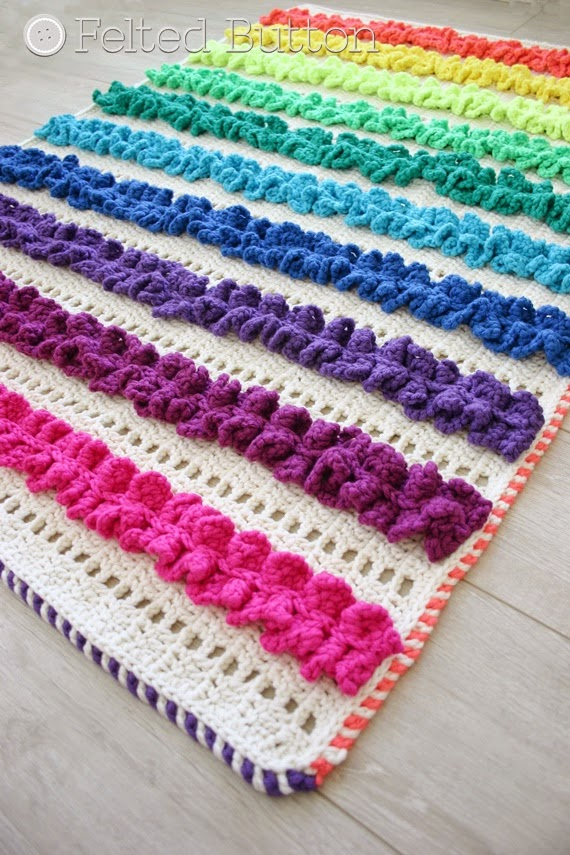 Ruffled Ribbons Blanket Crochet Pattern by Susan Carlson of Felted Button