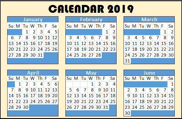 2019 Yearly Calendar Start on Sunday