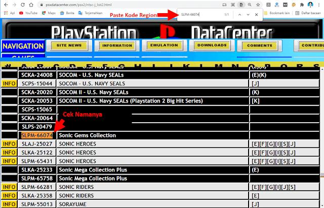 Cek Kode Region di PSXDataCenter