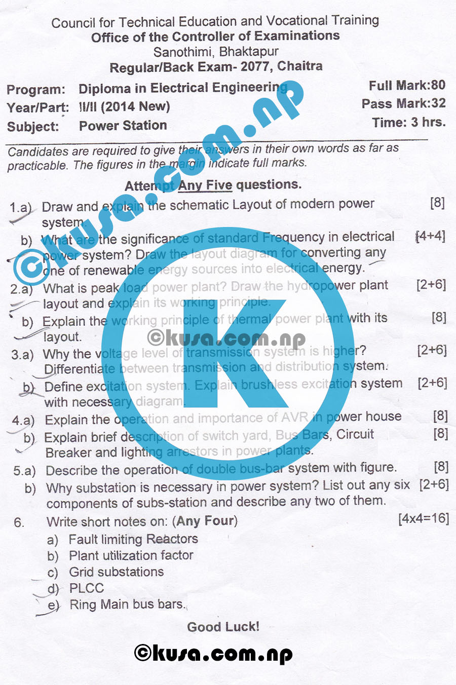 CTEVT-Diploma-Level-Second-Year-Second-Part-Power-Station-Question-Paper-2077
