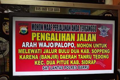 Poros Makassar-Palopo Banjir di Sidrap