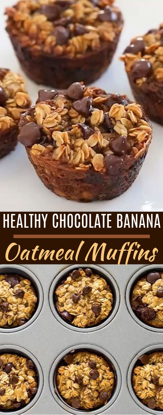Healthy Banana Chocolate Chip Oatmeal Muffins #healthy #breakfast