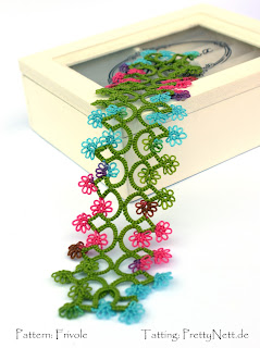 "Tatted bookmark ""Fleurette"" tatted by PrettyNett.de"