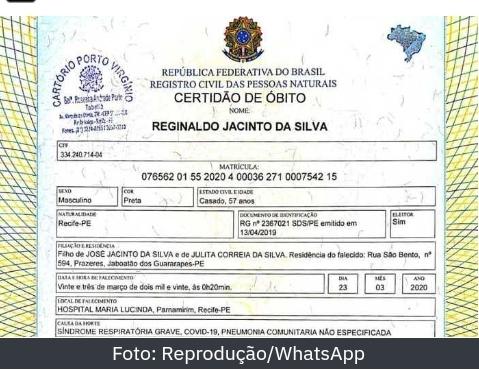 Atestado de óbito no Recife é usado em fake news.
