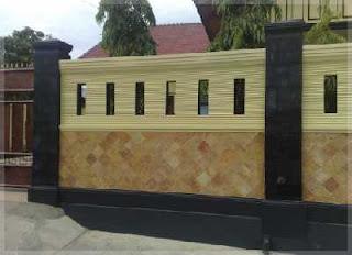 pagar tembok minimalis batu alam warna kuning
