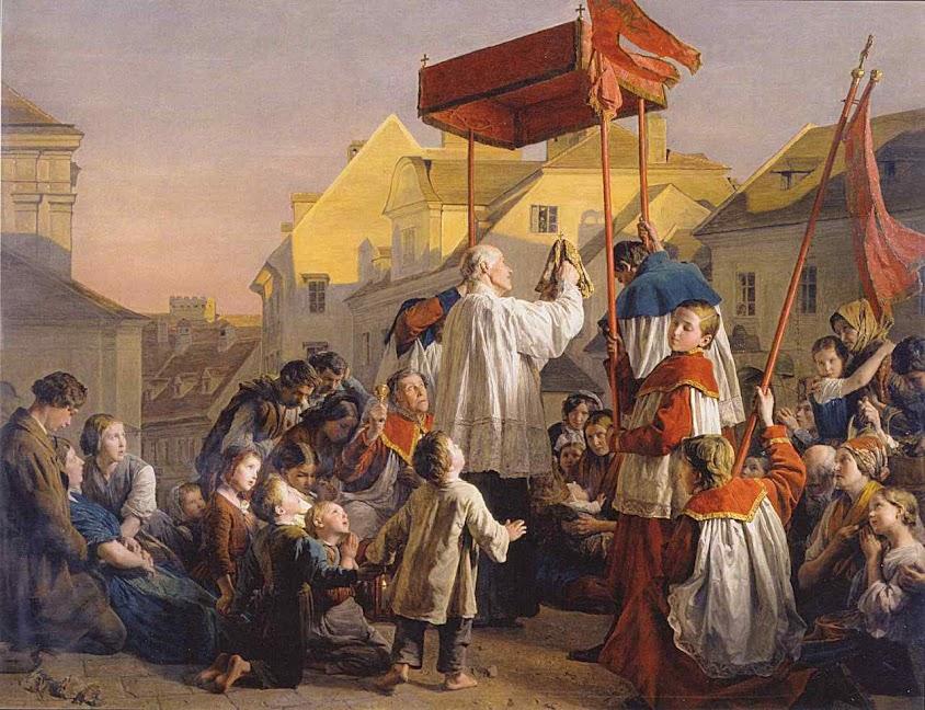 Levando o Santissimo Sacramento para os doentes. Ferdinand Georg Waldmüller (1793 - 1865)