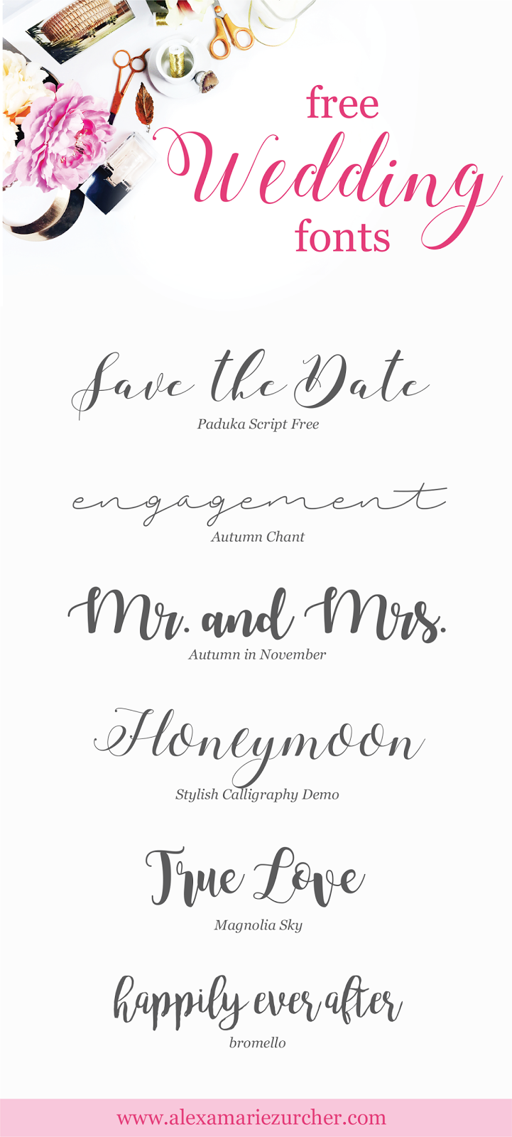 Free Wedding Fonts! | Zurcher Co | He + I = Party of 5