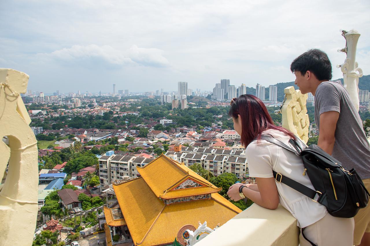 panorama view aerial view of penang malaysia kek lok si temple
