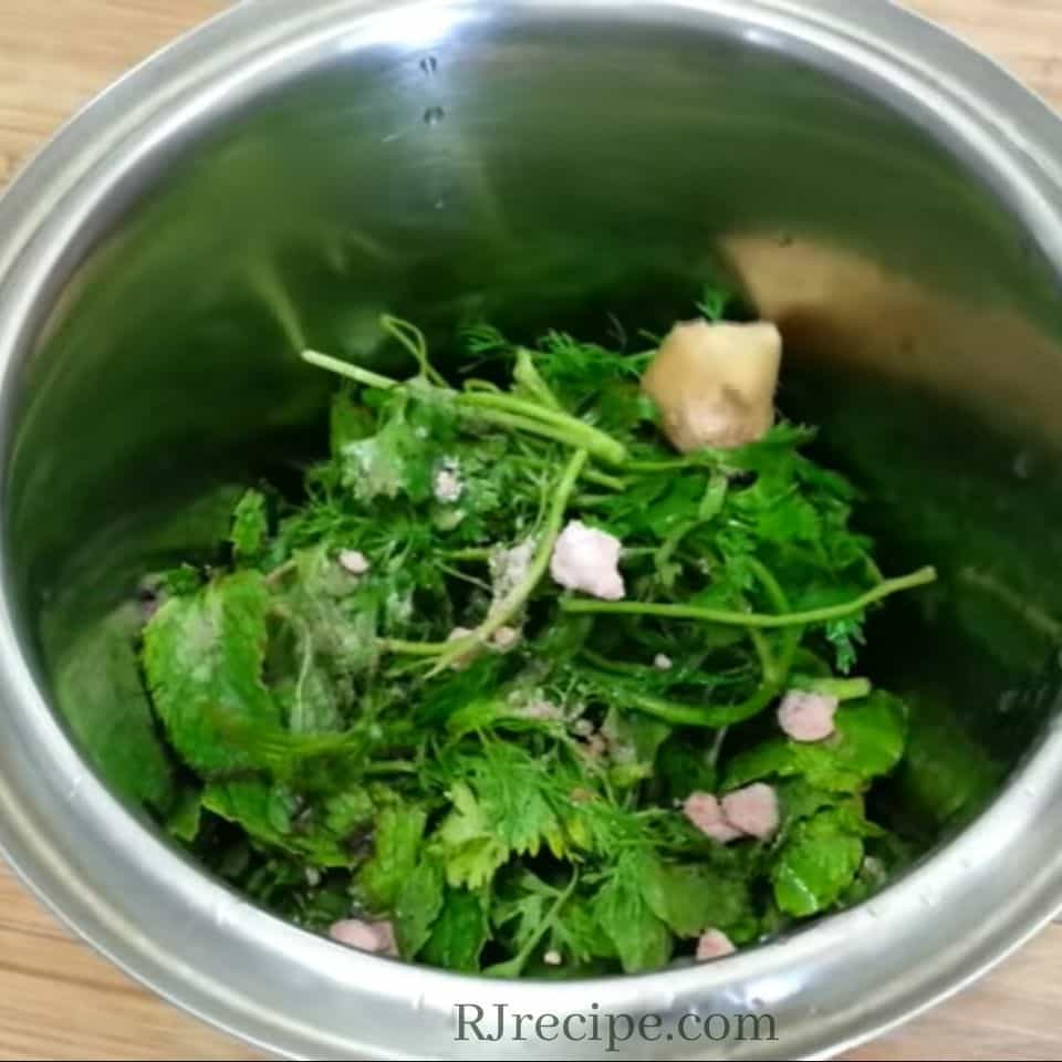 adding-ginger-coriander-leaves-pinch-of-salt-and-black-pepper