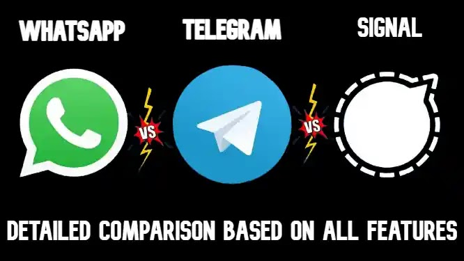 Detailed Comparison of WhatsApp Vs Telegram Vs Signal