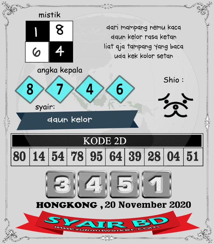 Syair BD HK Jumat 20 November 2020
