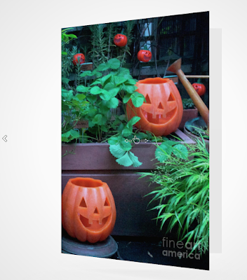 "This screen-shot features a Halloween card which has an image imprinted on it. The picture was taken in my garden when decorated for Halloween. It shows Jack-O-Lantern themed outdoor lights hanging on a wooden trellis. The actual card is sized 5"" by 7"" and  can be purchased via Fine Art America (AKA FAA).  They produce the cards on digital offset printers using 100 lb paper that has a UV protectant. The image is semi-gloss and the inside of the card is matte and blank so one can write a message, but if you prefer, FAA can customize any text or message that you want to include. Purchase info is @ https://fineartamerica.com/featured/laughing-jackolanterns-patricia-youngquist.html?product=greeting-card"