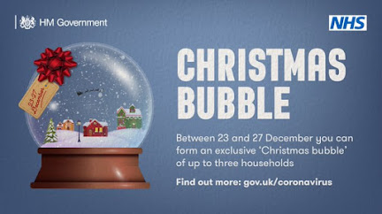 Cristmas bubble UK Gov small illustrated snow globe with house inside, and test