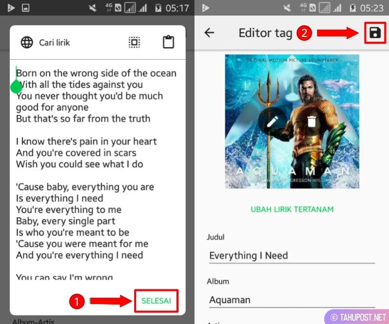 Simpan Perubahan - Cara Membuat Lirik Lagu di Pemutar Musik Android