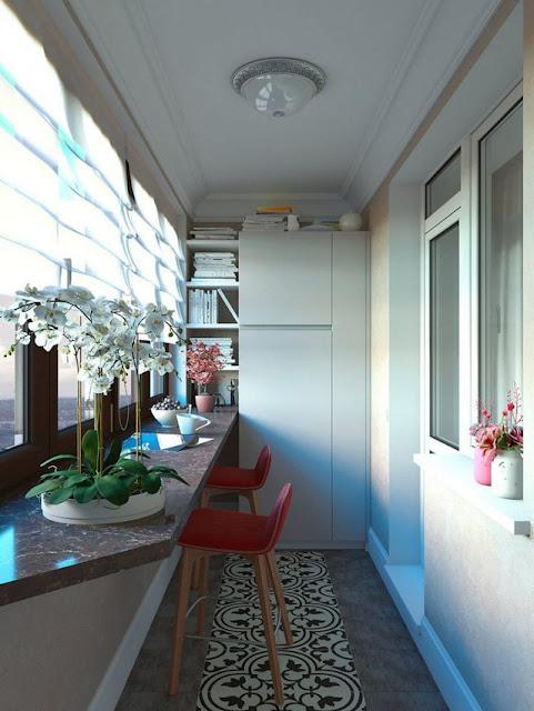 Khoảng nhỏ này còn được sử dụng như là một không gian đọc sách và làm việc thoáng sáng.