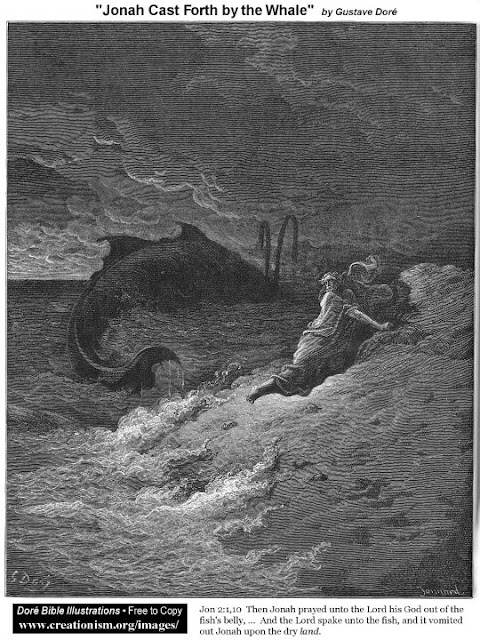 Jonah cast forth from the whale by Gustave Dore