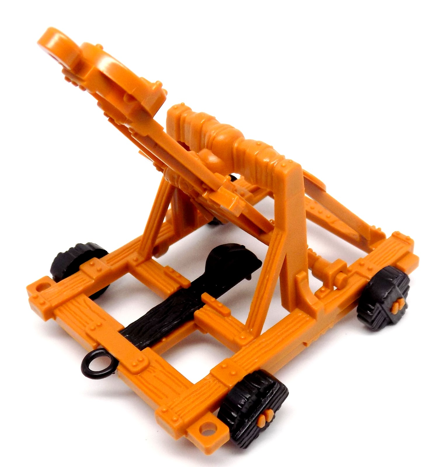 while the ballist uses a rubber band to hurl ammo this catapult has one small spring to provide the kinetic energy needed to fling the arm upwards enjoy