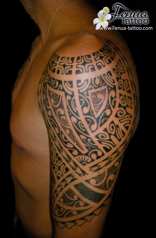Tatouage Épaule Homme en ce qui concerne tatouage polynesien homme bras épaule | tahiti tattoo spécialiste du