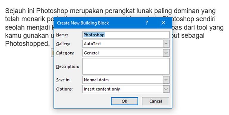 Cara Membuat Entri AutoText Untuk Digunakan Dengan Microsoft Word