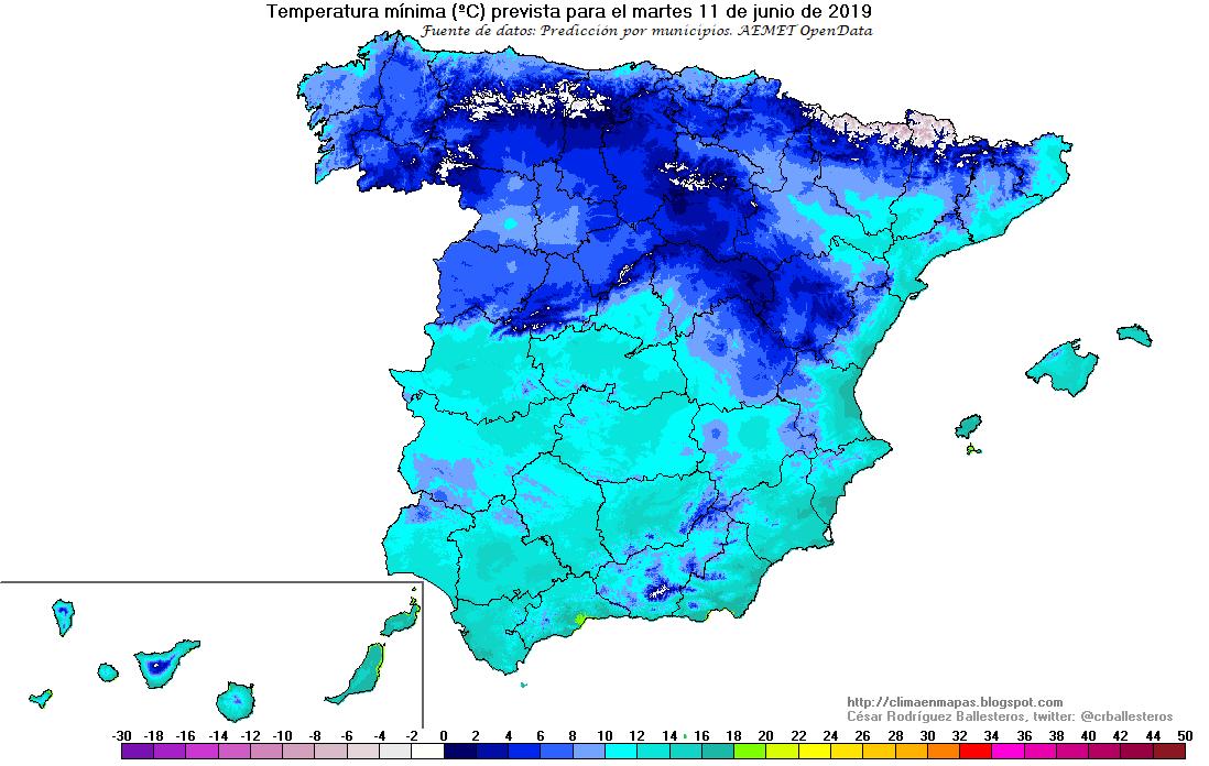 Mapa previsto de temperaturas mínimas para el martes 11 de junio en España