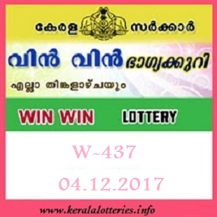 Kerala Lottery Results of Win Win  W-437 on 04.12.2017