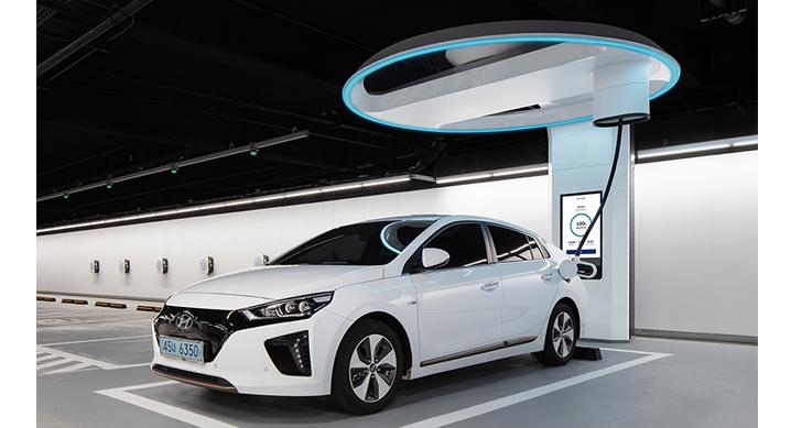 현대자동차, 전기차 초고속 충전설비 '하이차저' 공개