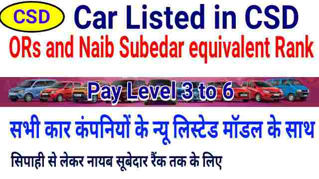 CSD Car under 6 Lakh for ORs and Naib Subedar equivalent