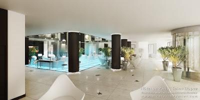Perspective 3d hôtel de luxe Saint-Tropez réception lobby