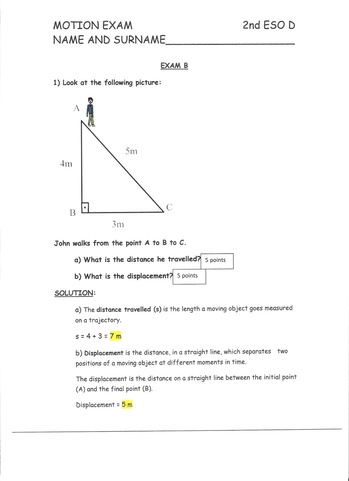 Ies Gabriel Cisneros 2nd Eso D Motion Exam With Answers