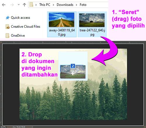 Proses menambahkan foto lain ke dokumen Photoshop