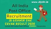 Jammu & Kashmir Gramin Dak Sevak (GDS) Result 2020 Released - India Post Result 2020