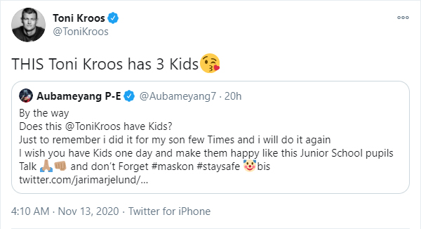 Pierre-Emerick Aubameyang & Toni Kroos in bizarre Twitter row over mask celebration