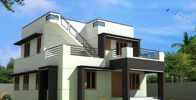 2 storey small house design with rooftop
