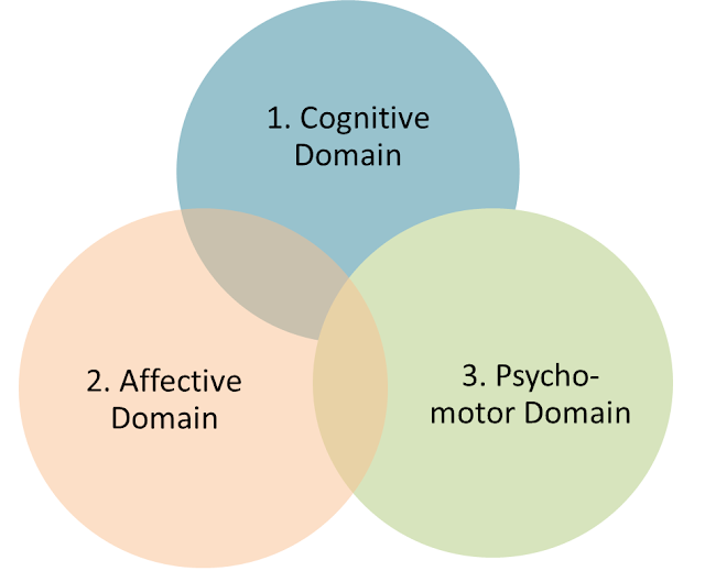 Three Domains, cognitive domain, affective domain, psycho-motor domain, blooms taxonomy