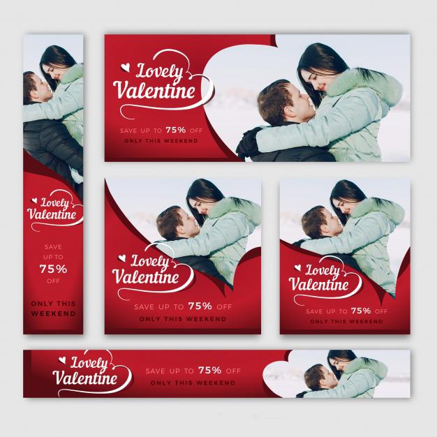 Valentine's day banner web Free Vector