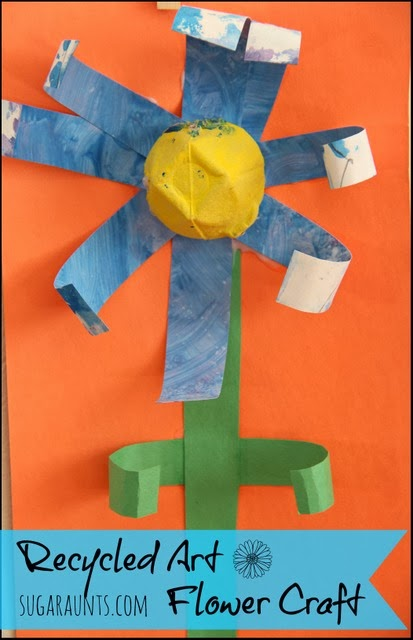 Use recycled art projects to create a flower craft.