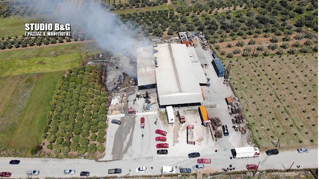 Αργολίδα: Μεγάλες ζημιές προκάλεσε η φωτιά σε εργοστάσιο στο Παναρίτι (βίντεο)